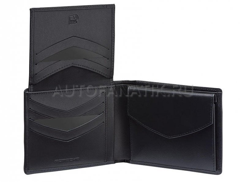 Мужской кожаный кошелек Porsche Wallet with Coin Compartment, Men, RFID, Black WAP0300310K