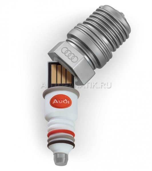Флешка Audi heritage Spark plug USB, Silver/White, 8 GB 3221800600